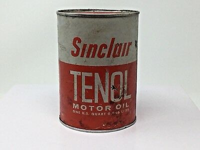 Sinclair Vintage Oil Can Red White Tenol Motor Oil 1 qt. '70's-80's era Red top