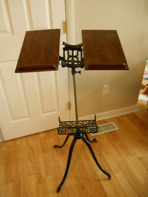 Antique 1895 Cast Iron Ornate Bible Library Music Book Stand Victorian Adj.
