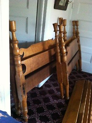 Antique Eighteenth Century Curly Maple Bed Headboards, Footboards, and Railings