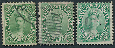 Canada #18 x 3 12 1/2c Victoria, Used, 3 Shades, Faults