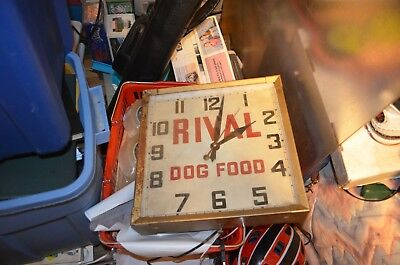 "RARE VINTAGE 1940s RIVAL DOG FOOD STORE CLOCK !! 14.5"" x 14.5"" - MUST SEE !"