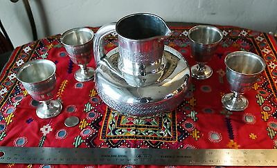 Beautiful Antique Persian Isfahan Solid Silver Hand Chased Drinking Set