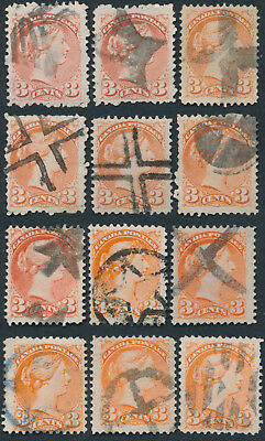 Lot of 12 3c Small Queens With Star or Cross Fancy Cancels, Mostly Fine+
