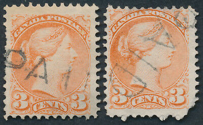 Canada 2 x #37 3c Small Queens, Different 'PAID' Handstamp Cancels