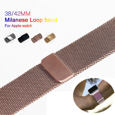 For Apple Watch 3/2/1 Stainless Steel Magnetic Milanese Loop Band Strap Stock