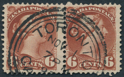 Canada #43 6c Small Queen, Pair, F-VF, Toronto 3 Ring Orb