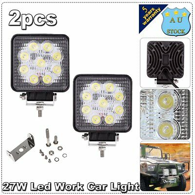 2X 27W 4'' CREE Led Work Light Flood Beam Square Offroad Boat 4WD Driving Lamp