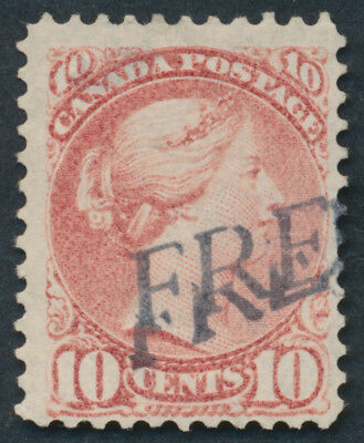 Canada #45 10c Small Queen, 'FREE' Handstamp Cancel, Thin