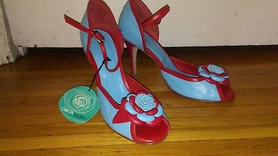 NEW Gretaflora tango shoes 38 blue and red