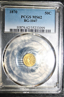 Gold- MS62 1870 50C Round Liberty Head California fractional gold coin