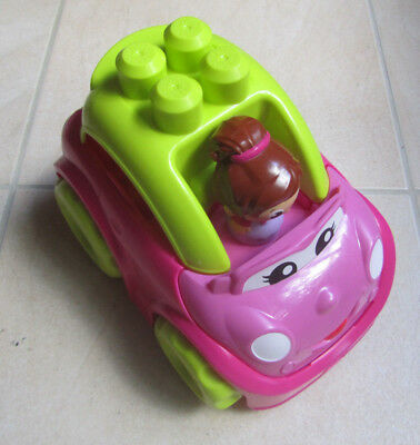 MEGA BLOKS First Builders Catie Convertible Pink Car with Girl Figure