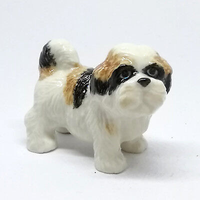 Figurine Miniature Dog Shih Tzu Ceramic Figurines Animal Collectible Statue