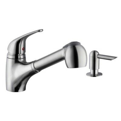 BRUSHED NICKEL KITCHEN FAUCET Low Profile Single Handle Pull Down Soap Dispenser