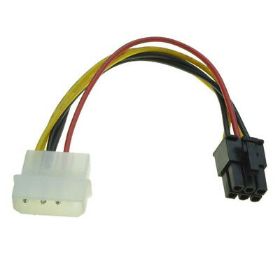 4 Pin Molex to 6 Pin PCI-Express PCIE Video Card Power Converter Adapter Cable A