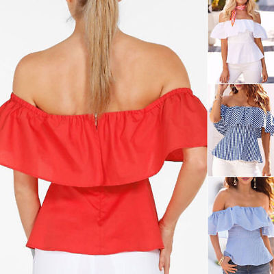 SEXY Womens Off-shoulder Short Sleeve Casual Blouse Loose Stripe Tops T-Shirt