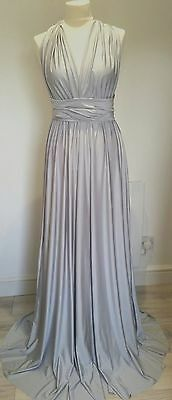 Multiway Dress Silver Bridesmaid Prom Multi Way Maxi Twist Wrap Uk Made