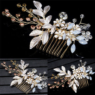 Gold Crystal Flower Jewelry Festival Gift Bride Pins Wedding Hair Clip HairpinPB