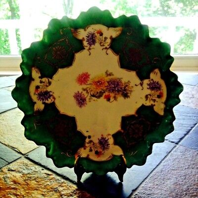 """ES Schlegelmilch Cabinet Tray Scalloped with Raised Rim c1891 8.75"""" Royal Saxe"""
