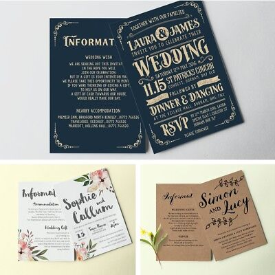 Personalised Wedding Day / Evening Invitations Double sided with Envelopes