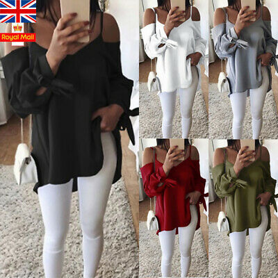 UK Plus Size Summer Women Cold Shoulder Strappy Blouse Holiday Beach Shirt Tops