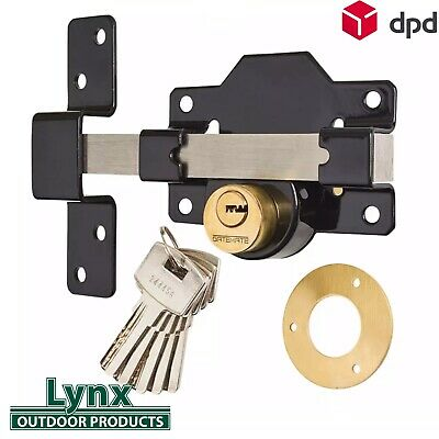 Gatemate 50mm Security Rim Lock for Garden Gate shed Long Throw Bar 50mm DS