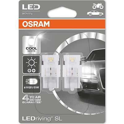 OSRAM LED W21/5W 580 (T20 DC) 12V 7715CW-02B Cool White Wedge Bulbs 6000K Twin