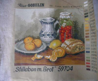 Unused Vintage Rice Gobelin Printed Tapestry Canvas Still Life With Bread 59704