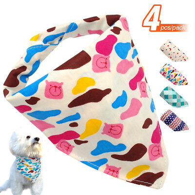 4x Soft Adjustable Dog Cat Puppy Pet Neckerchief Bandana Neck Scarf Puppy Collar