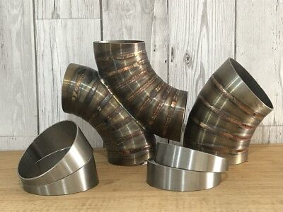 """Qty-1 Stainless Steel Exhaust 10° Pie Cut 3.0"""" 76mm elbow weld bend"""