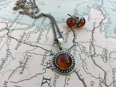 Vintage Sterling Silver Amber Necklace And Earrings Set 925