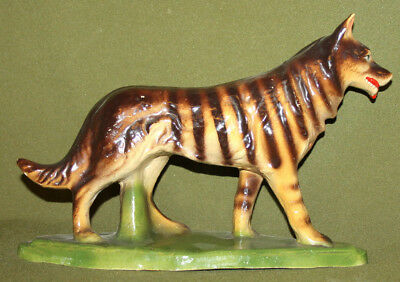 Vintage hand made ceramic wolf dog figurine