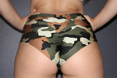 Pole Dance Gym Camo High Waisted BRAZIL Scrunchie Bum Shorts