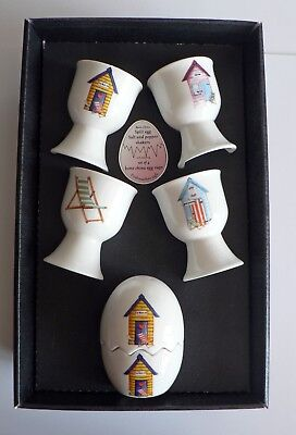 Beach Hut Egg cup & cruet gift set - 4 china egg cups china egg salt and pepper