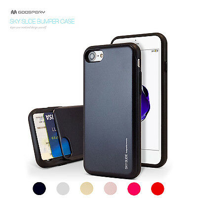 iPhone X Xs Max XR 8 7 6s Plus Goospery Card Slot Slide Hybrid Rubber Case Cover