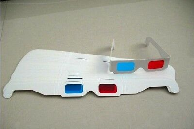 5 pcs 3D Glasses Red/Blue Cyan Paper Card Anaglyph Glasses White