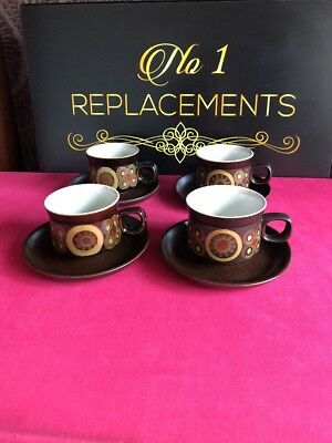 4 x Denby Arabesque Tea Cups and Saucers 2 Sets Available
