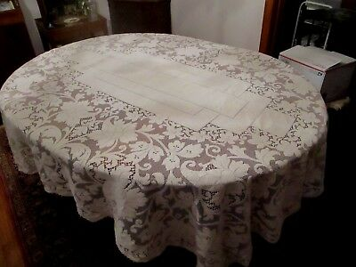Vintage Ivory Quaker lace tablecloth 80 x 65  rectangle picot loops