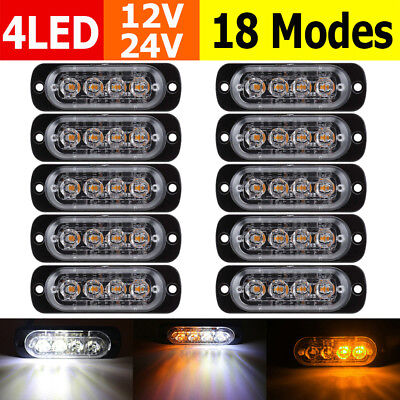 10X 4 LED White/Amber Recovery Flashing Strobe Grille Beacons Warning Lights 12V