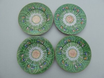 4 antique Chinese Cantonese porcelain cabbage leaf small tea plates - 15.8cm