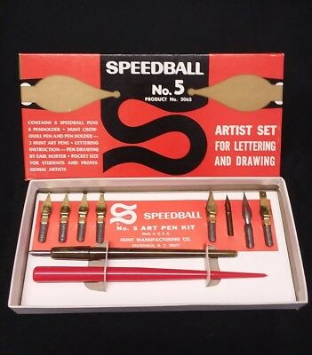 Speedball Artist Pen Set No. 5 with Instructions, 9 Nibs, and 2 Holders - #3065