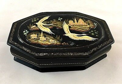 Russian Vintage Black Lacquered Hand Painted Box - Swans in Flight- Signed