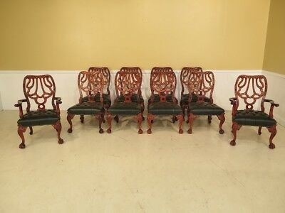 LF28318E: Set Of 10 Carved Georgian Mahogany Clawfoot Dining Room Chairs