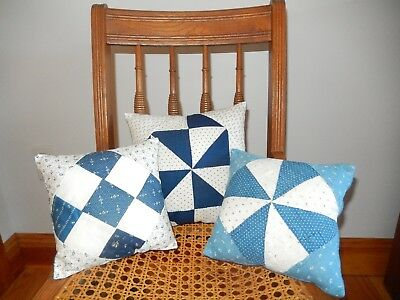 Reduced! 3 Quilt block pillows w/ vintage/antique quilts & fabrics. Made in USA