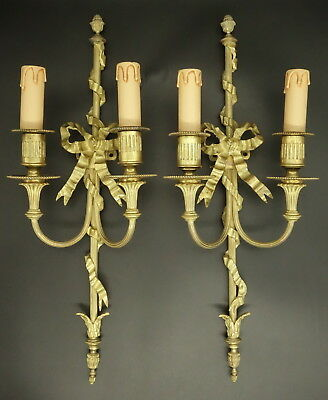 Pair Large Sconces Knot&ribbon Louis Xvi St. Early 1900- Bronze - French Antique