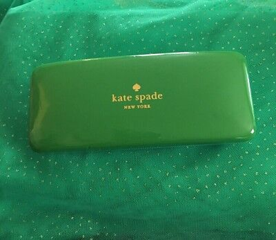 Kate Spade clamshell blue and green Eyeglass Or Sunglass Case Eyes Inside