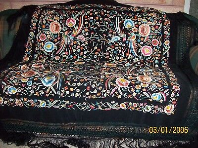 Real-1920-Antique-Spanish-Black-Silk-Fabric-On-Silk-Embroidered-Shawl  Real-192