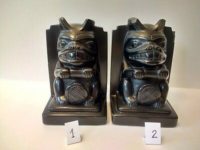 Collectible Native American Art Haida Totem Pole Beaver Bookends
