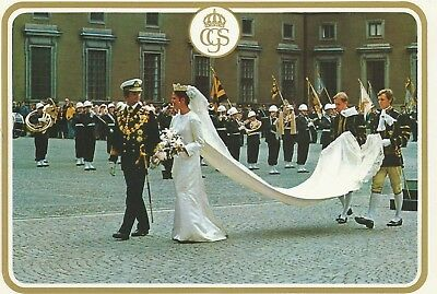 KÖNIGIN SILVIA-KÖNIG CARL GUSTAF-Bernadotte-Adel-ROYAL WEDDING-1976-ORIGINAL PK