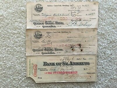 3 Vintage Coca Cola Checks 2 from Quincy Fla and 1 From St. Andrews Fl