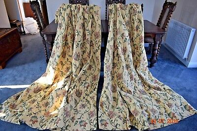 Vintage  French Thick Brocade Curtains Lined Each 72 Ins Wide 86 Ins Long